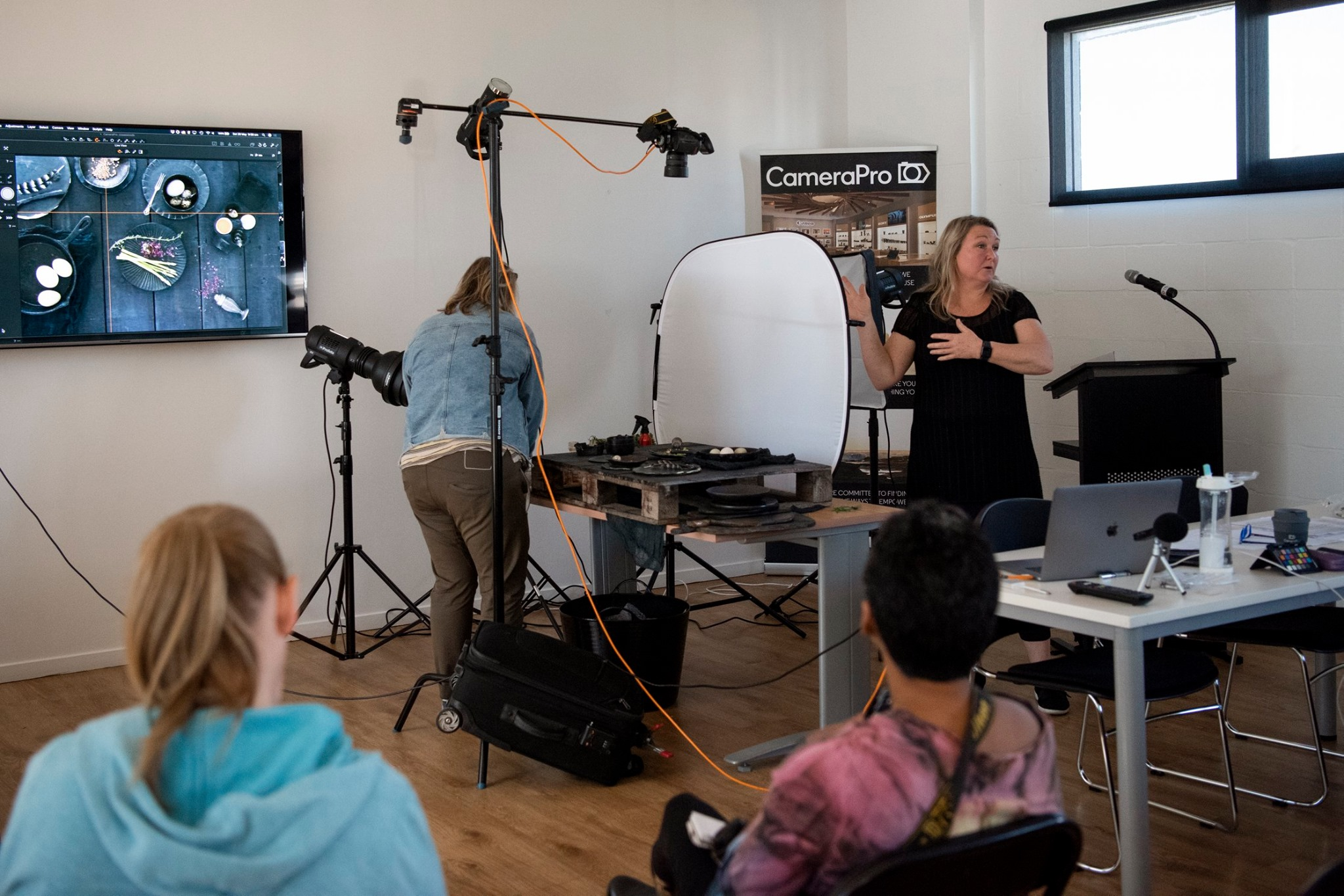 Food photography flat lay demo by Nadine Shaw at CameraPro Photography Festival
