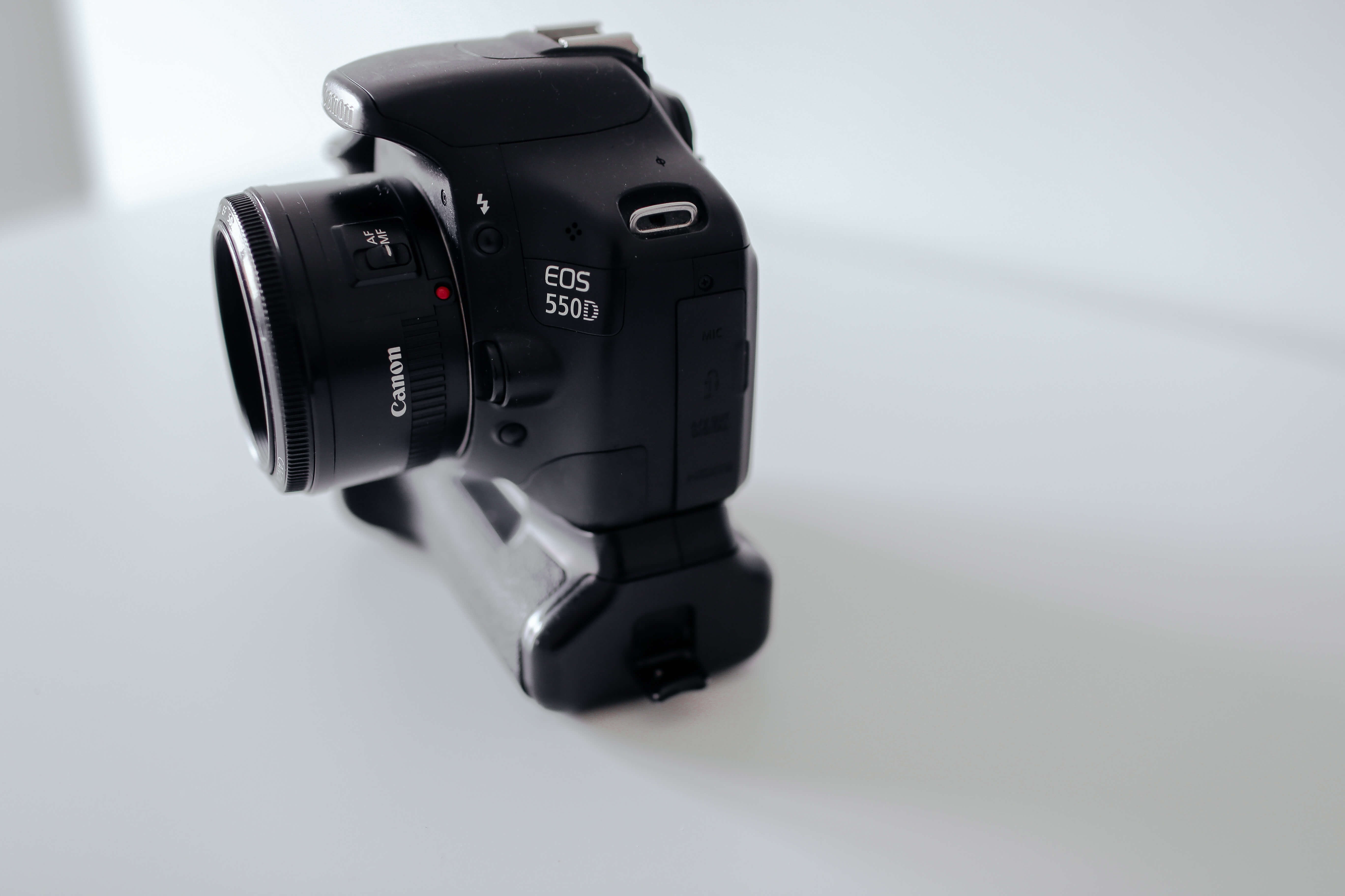 Canon DSLR camera with battery grip attached