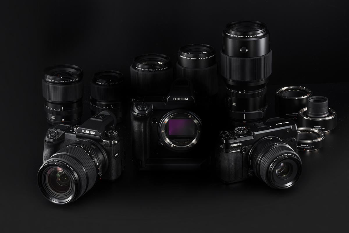 Fujifilm GFX100 with cameras and lenses from the GFX system