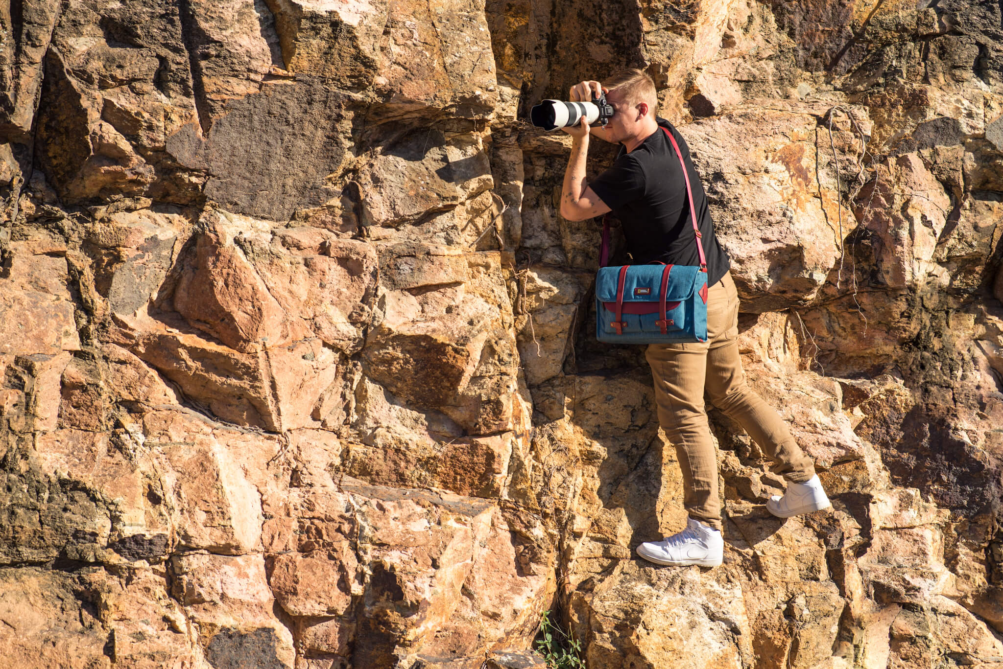 Photographer with messenger bag
