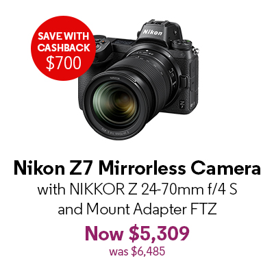 Nikon Z7 Mirrorless Camera with NIKKOR Z 24-70mm f/4 S and Mount Adapter FTZ