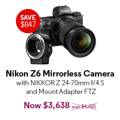 Nikon Z6 Mirrorless Camera with NIKKOR Z 24-70mm f/4 S and Mount Adapter FTZ - $3,638