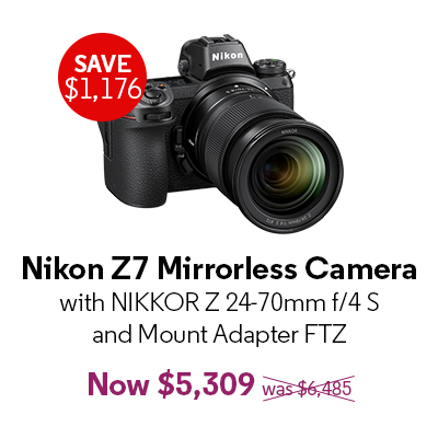 Nikon Z7 Mirrorless Camera with NIKKOR Z 24-70mm f/4 S and Mount Adapter FTZ - $5,309