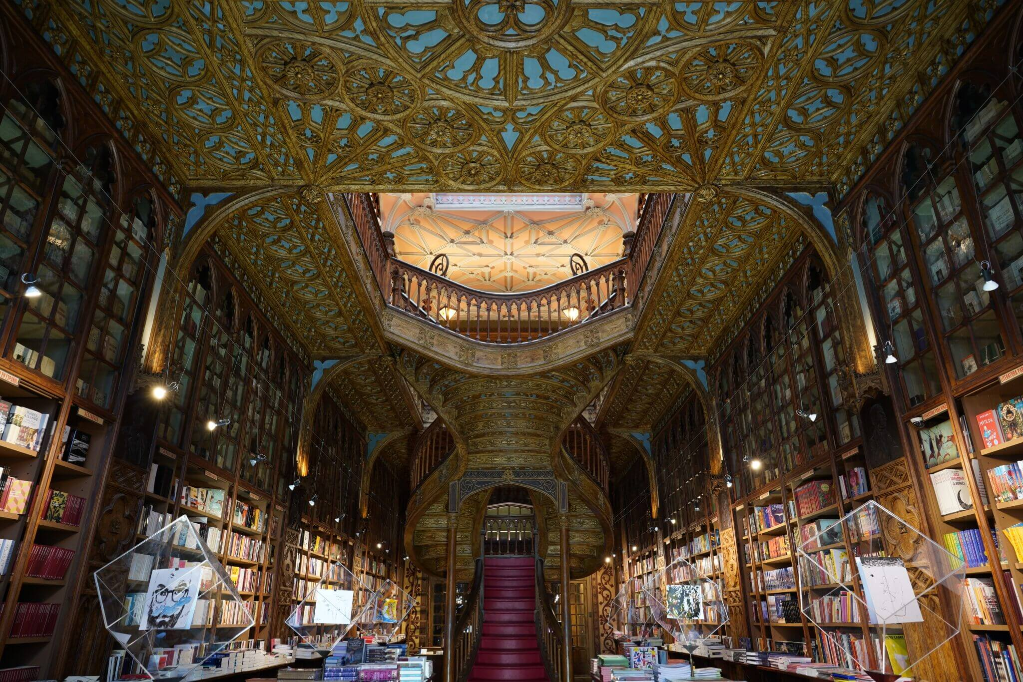 Interior of Livraria Lello bookshop in Porto, Portugal, photographed with the Sony 24mm 1.4 GM lens
