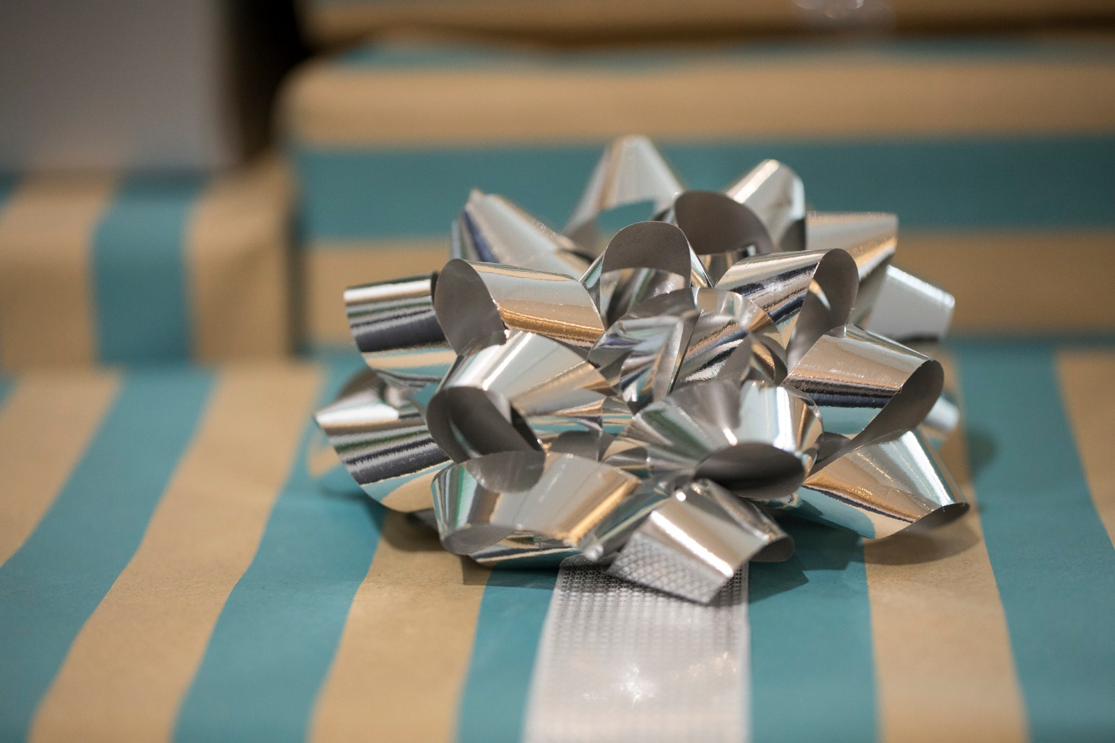 silver ribbon on a christmas gift