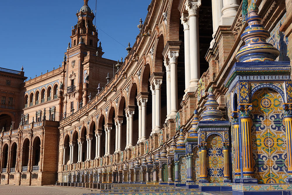 Provincial alcoves of Plaza de España in Seville, Spain, photographed with the Canon PowerShot G5 X Mark II
