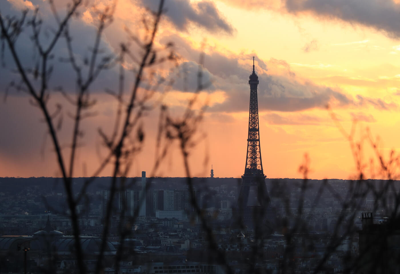 The Eiffel Tower and Paris city skyline viewed through bare tree branches at sunset, photographed with the Canon EOS M50