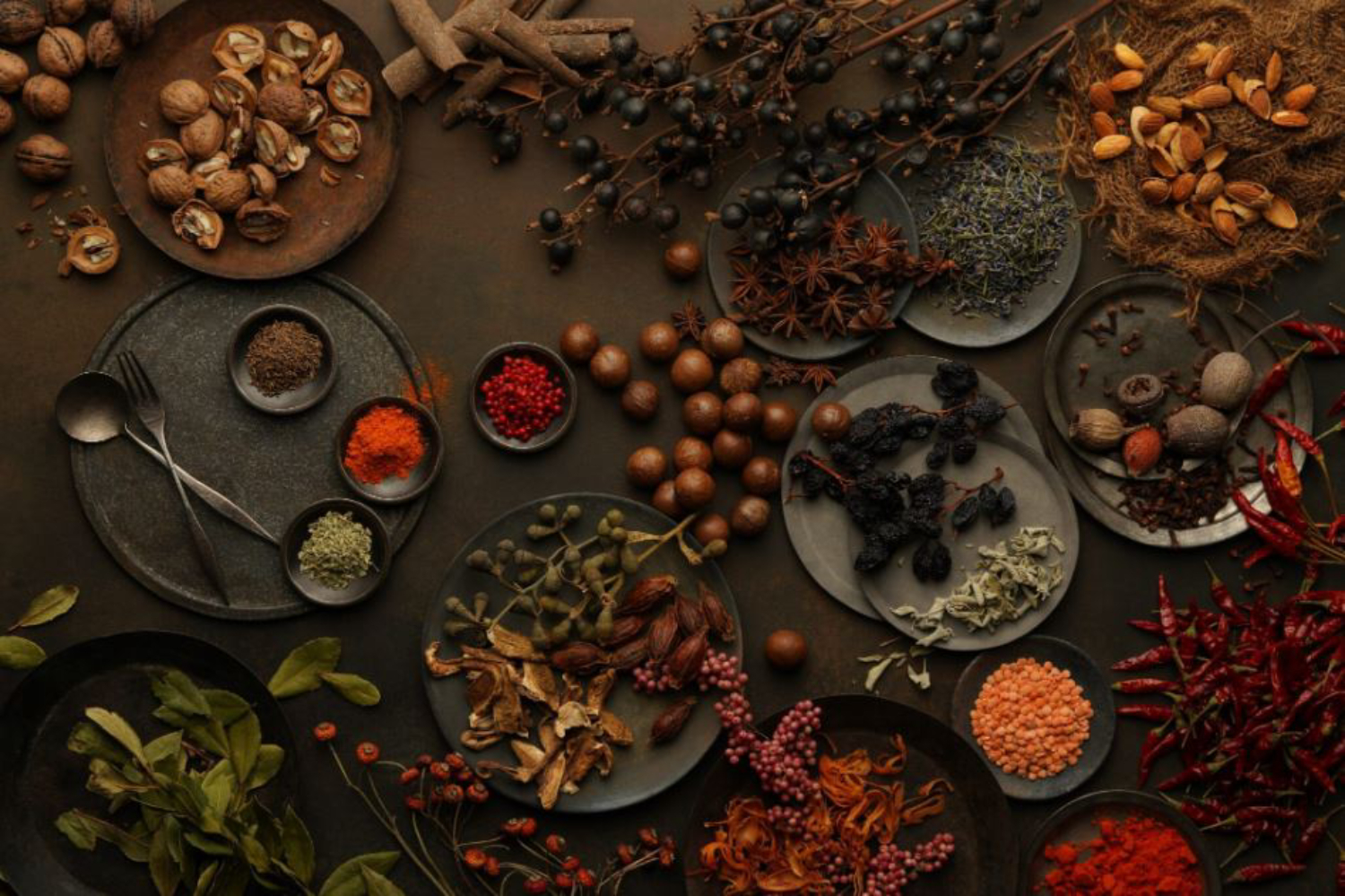 Plates & piles of assorted spices, nuts & other dry ingredients on a dark, earthy background, shot with Sony 85mm f1.4 GM lens