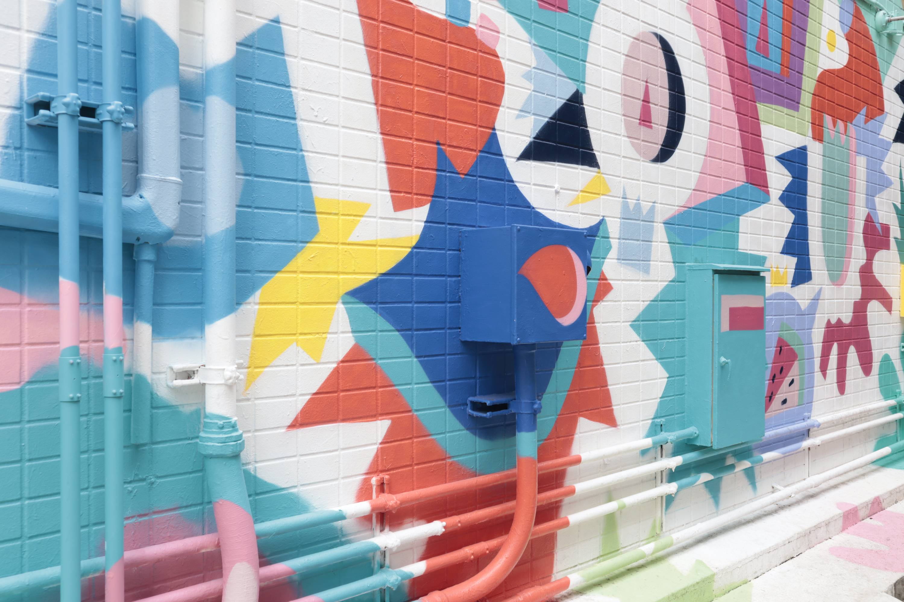 Colourful modern wall mural - photographed with Canon M200